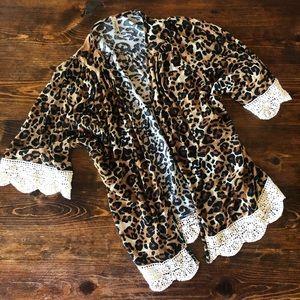 Girls Leopard Kimono with Lace Trim